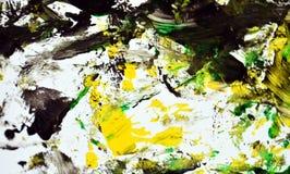 Zwarte groene grijze gele contrasten, de achtergrond van de verfwaterverf, abstracte het schilderen waterverfachtergrond stock foto