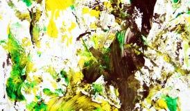 Zwarte groene witte gele contrasten, de achtergrond van de verfwaterverf, abstracte het schilderen waterverfachtergrond stock afbeeldingen