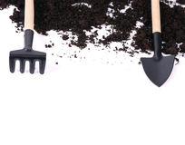 Zwarte grond dichte omhooggaand geïsoleerd op wit Royalty-vrije Stock Fotografie