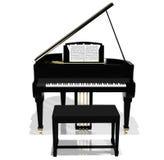 Zwarte grote piano Stock Foto