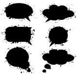 Zwarte grunge dacht bellen, wolken, illustratie royalty-vrije illustratie