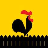 Zwarte haan op een omheining Vector illustratie Royalty-vrije Stock Afbeelding