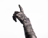 Zwarte hand van dood, volkomen het lopen, zombiethema, Halloween-thema, zombiehanden, witte achtergrond, brijhanden Royalty-vrije Stock Afbeelding