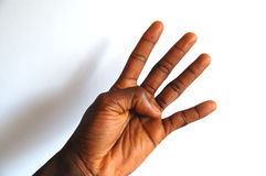Zwarte hand vier stock foto's