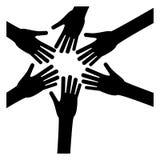 zwarte handen van het beeld van het vrouwen samen pictogram royalty-vrije illustratie