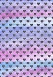 Zwarte harten op een purpere achtergrond achtergrond van zwarte harten Violette waterverfachtergrond royalty-vrije stock foto's