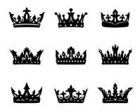 Zwarte heraldische koninklijke kronen stock illustratie