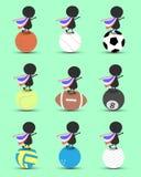 Zwarte het beeldverhaaltribune van het mensenkarakter op sportenbal en handen omhoog boven met de golvende vlag van Thailand en g Stock Foto's