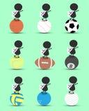 Zwarte het beeldverhaaltribune van het mensenkarakter op sportenbal en handen omhoog boven met golvend Zuiden van de vlag van Kor Stock Foto