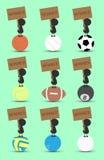 Zwarte het beeldverhaaltribune van het mensenkarakter op sportenbal en het houten teken van de greepwinnaar met groene achtergron Stock Afbeelding