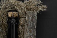 Zwarte het glasfles van Champagne die in boomschors wordt geplaatst met neiging op zwarte achtergrond royalty-vrije stock fotografie