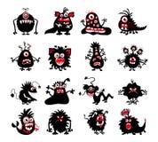 Zwarte het monstersilhouetten van Halloween Bacteriën en dier, vreemde duivel, spoken of demon vectorillustratie royalty-vrije illustratie