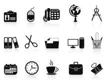 Zwarte het pictogramreeks van bureauhulpmiddelen Stock Foto