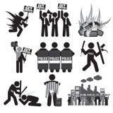Zwarte het Pictogramreeks van het Symboolprotest Royalty-vrije Stock Fotografie
