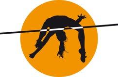 Zwarte het silhouet vectorillustratie van het atletenhoogspringen Stock Foto