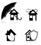 Zwarte het silhouet vectorillustratie van het huisconcept Stock Afbeelding