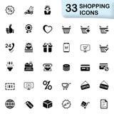 33 zwarte het winkelen pictogrammen Stock Foto's