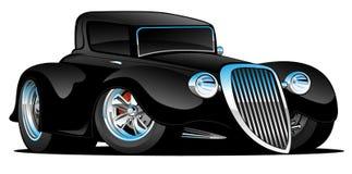 Zwarte Hete Rod Classic Coupe Custom Car-Beeldverhaal Vectorillustratie Stock Afbeelding