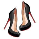 Zwarte high-heeled schoenen Stock Afbeeldingen