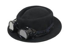Zwarte hoed en beschermende brillen Stock Fotografie