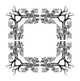 Zwarte hoekenelementen met draken, vector Stock Foto