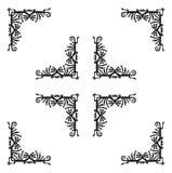 Zwarte hoekenelementen met draken, vector Royalty-vrije Stock Afbeelding