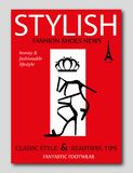 Zwarte hoge de hielschoenen van het manier in silhouet op rode achtergrond De dekkingsontwerp van het maniertijdschrift Stock Foto