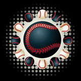Zwarte honkbal en achtergronden stock illustratie