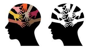 Zwarte hoofdprofielen met het helpen van handen Stock Foto