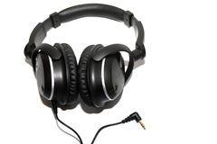 Zwarte hoofdtelefoons Royalty-vrije Stock Foto's