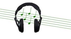 Zwarte hoofdtelefoons met muzikale score Stock Foto's