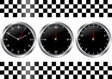 Zwarte horloges en chronografen Royalty-vrije Stock Foto's