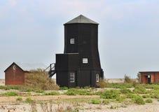 Zwarte houten kusttoren Stock Afbeeldingen