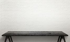Zwarte houten lijst met benen Witte bakstenen muurtextuur op achtergrond Stock Afbeelding