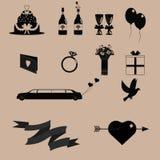 Zwarte huwelijkspictogrammen stock afbeeldingen