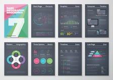 Zwarte infographic malplaatjes in bedrijfsbrochurestijl Stock Foto