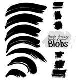 Zwarte inkt vectorvlekken en slagen Vectorreeks slagen van de grungeborstel Royalty-vrije Stock Foto