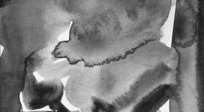 Zwarte inkthand geschilderde abstracte achtergrond Stock Afbeeldingen