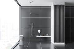Zwarte inteiror van de tegelbadkamers, douche Royalty-vrije Stock Foto