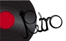 Zwarte iriserende vinyl analoge muzikale retro oude antieke hipster uitstekende grammofoonplaat voor grammofoon en retro inschrij royalty-vrije illustratie