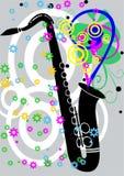 Zwarte jazzsaxaphone met bloemen Stock Fotografie