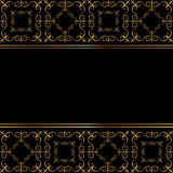 Zwarte kaart met gouden ornament Royalty-vrije Stock Fotografie