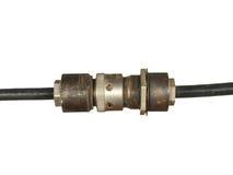 Zwarte kabel met oude coaxiale die schakelaar op witte backgro wordt geïsoleerd Stock Afbeelding