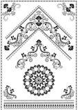 Zwarte kalligrafieornamenten en hoek op witte achtergrond Royalty-vrije Stock Foto's