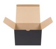 Zwarte kartondoos stock foto's