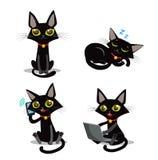 Zwarte kat De kat van de zitting Kat in diepe slaap Kat en telefoon Kat en smartphone Stock Afbeeldingen