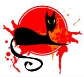 Zwarte kat in een rood frame royalty-vrije illustratie