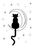 Zwarte kat met lange staartzitting op de maan Stock Foto's