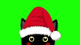 Zwarte Kat met Santa Hat Sneaking Kerstmisdag van de groetkaart stock video