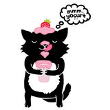 Zwarte kat met yoghurt. leuk beeldverhaaldier Stock Fotografie